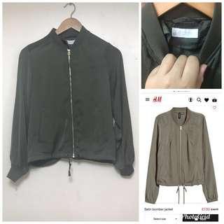 h&m olive green satin bomber jacket