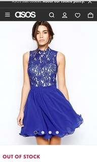ASOS Chi Chi London Lace High Neck Prom Dress with Full Skirt