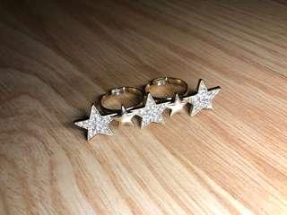 Aldo glittery star knuckle ring adjustable size