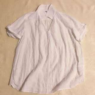 Beach White Chiffon Loose Size Thin Fabric Translucent Shirt Tops 白色沙滩宽阔透视上衣