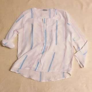 Thin Fabric White See Through Shirt Tops 百搭薄款衬衣