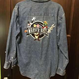 🚚 古著:絕版華納兄弟刺繡牛仔襯衫