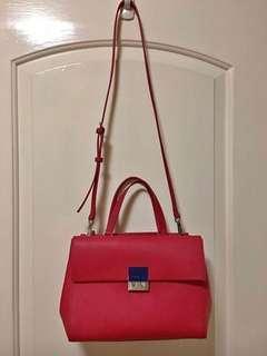 Agnes b 🌹紅色牛皮袋