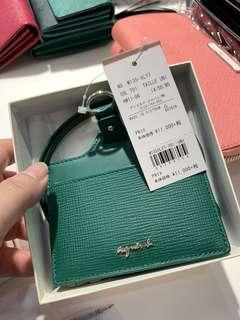 全新 agnes b. 綠色 格紋 拼接 防刮 牛皮 證件夾 證件套 卡夾 識別證 車票夾 吊牌 附背帶 女用 日本限定