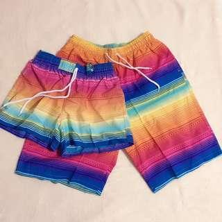2pcs Beach Shorts XXL Couple Women + Men Rainbow Summer 情侣沙滩彩虹短裤