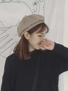 🚚 文青風貝蕾帽(卡其色)
