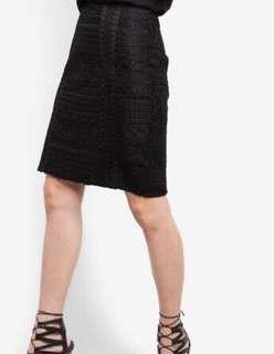 (QUICK DEAL) Zalora Premium Trim Insert Midi Skirt