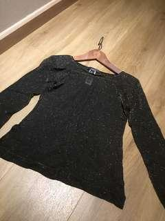 Black Long sleeve glitter blouse