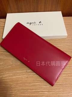 全新 agnes b. 紅色 霧面 牛皮 真皮 掀蓋 翻蓋 扣式 信封 皮夾 長夾 女用 保證真品 正品 小b.