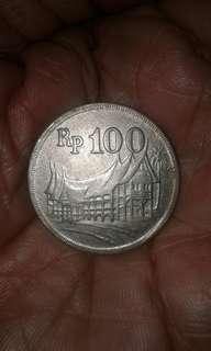 Uang logam Rp.100 seri Rumah Gadang tahun emisi 1971