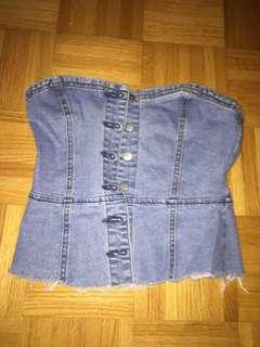 Denim button up tube top forever 21