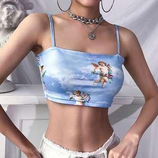 little angel print blue cami crop top