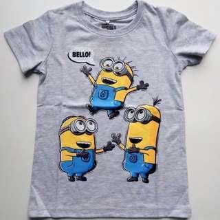 現貨包郵~ 4T-6T Minion 小黃人灰色圖案 T-shirt #kids300