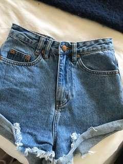 Insight blue denim high waist shorts 6