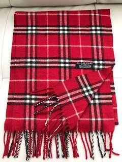 Authentic Burberry Novacheck Red Cashmere Scarf
