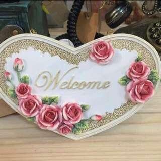 🚚 歡迎吊牌 zakka 歡迎牌 welcome 玫瑰