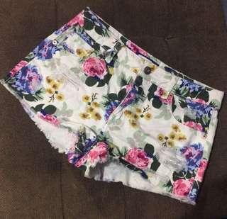 F21 Floral Denim Shorts