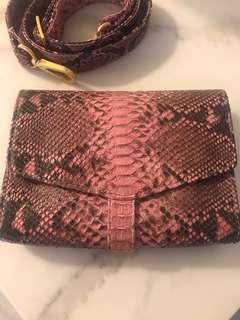 Pink Python Snakeskin clutch