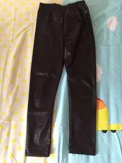 Black shiny pants