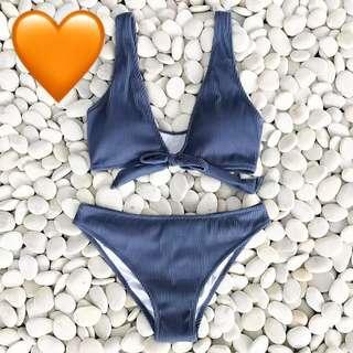 Blue V-neck Bow swimsuit