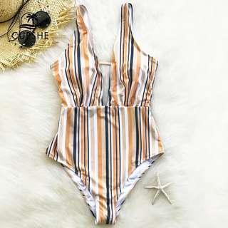 Light Orange V neck swimsuit