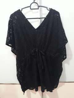 🚚 Black Lace Beachwear Cover up Plus Size