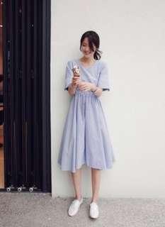 Blue strip flare long dress