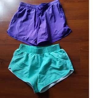 Gym Shorts x 2.  Nike Dri Fit & Lorna Jane.