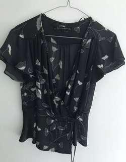 Zara Women's Ginko Leaves Floral Print Top Black size S