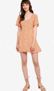 Miss selfridge petite apricot skater dress