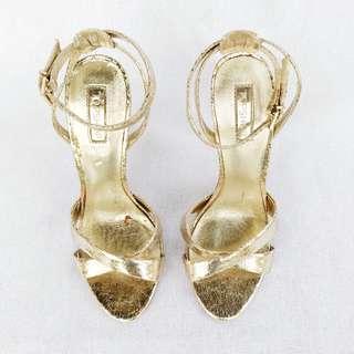Topshop Vintage Style Gold Heels