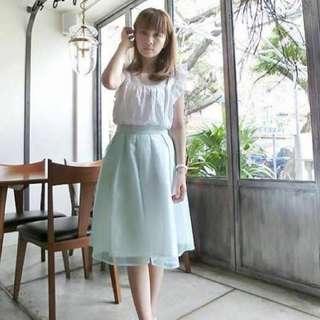 🚚 Lovfee 優雅百褶中長紗裙