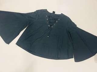 Dark green blouse with lace down #EndgameYourExcess