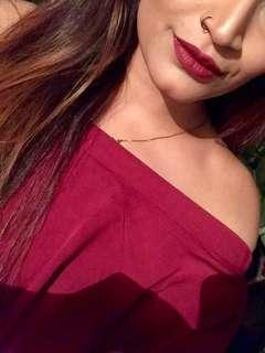 Off shoulder red top