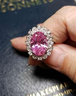 🚚 BN Romantic Pink Kunzite Solitaire Double Halo Ring