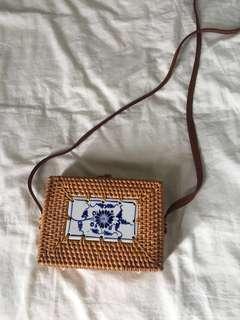 Rattan straw box sling bag
