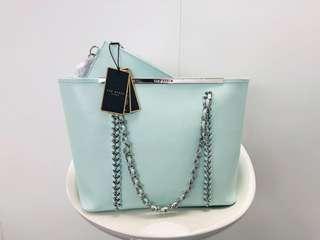 100% Real & New Ted Baker real leather Tiffany Blue shopping bag medium tote 大熱糖果色系全新湖水綠真皮側咩袋返工袋返學袋化妝袋