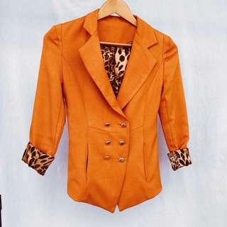 Blazer - Burnt Orange with Animal Print Lining