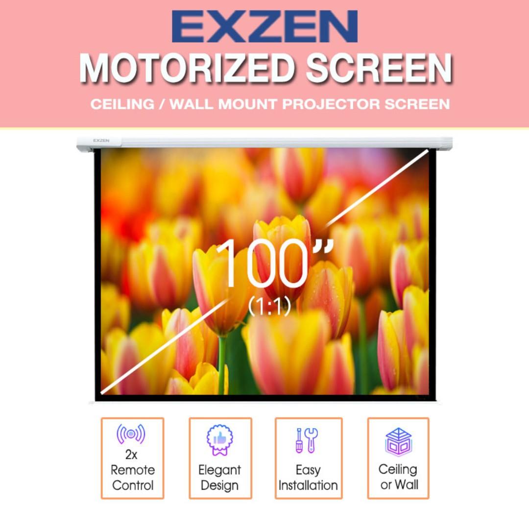 100 Inch Motorized Projector Screen [EXZEN]