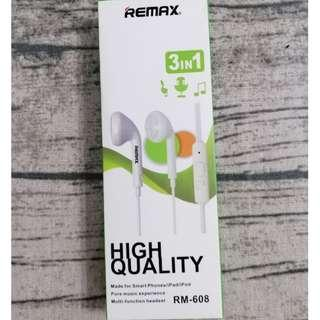 REMAX RM-608 3.5mm Plug Stereo Earphone High Quality