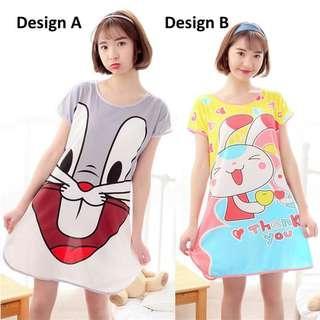 Summer Lady Cartoon Milk Silk Skirt Sweet Cute Pyjama Bunny