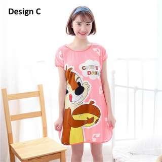 Summer Lady Cartoon Milk Silk Skirt Sweet Cute Pyjama Chipmunk