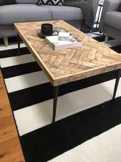 Solid wood and metal leg coffee table