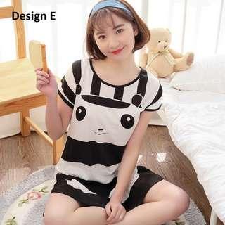 Summer Lady Cartoon Milk Silk Skirt Sweet Cute Pyjama Black and White