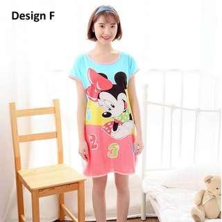 Summer Lady Cartoon Milk Silk Skirt Sweet Cute Pyjama Minnie