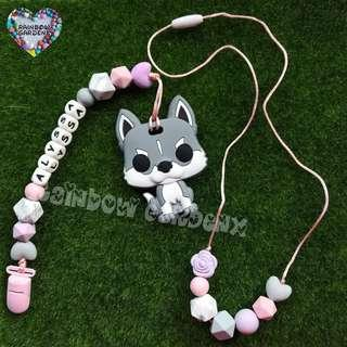 Handmade Mummy beads necklace & Baby Pacifier Clip with customisation of name + Dog teether