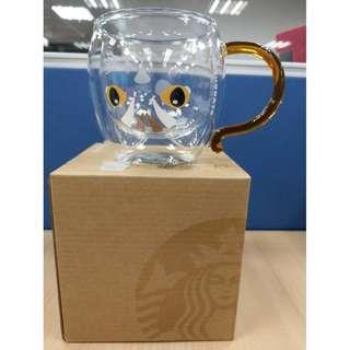 🚚 [現貨2個]Starbucks 2019/4/10 星巴克 石虎把手雙層玻璃杯 300ml