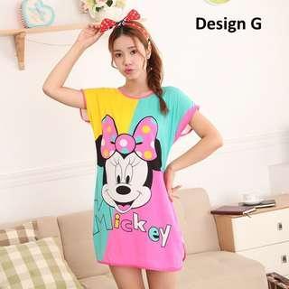Summer Lady Cartoon Milk Silk Skirt Sweet Cute Pyjama Mickey