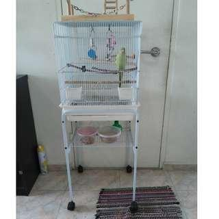 Medium Size Bird Cage W/ Stand for sale