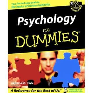 'Psychology For Dummies' Paperback Book – 2002 By Adam Cash, PsyD Psychologist!